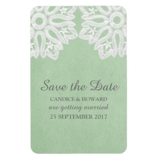 Mint Green Elegant Lace Save the Date Flexi Magnet