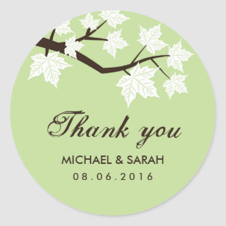 Mint green Falling Maple Leaves Thank You Sticker