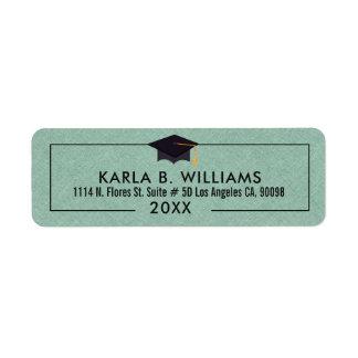 Mint-green Faux Linen Grad Hat Frame Return Address Label