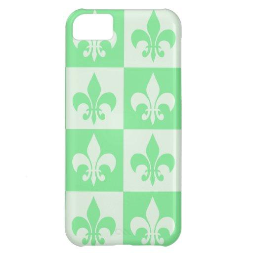 Mint Green Fleur de lis iPhone 5C Cases