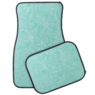 Mint Green Floral Car Mat