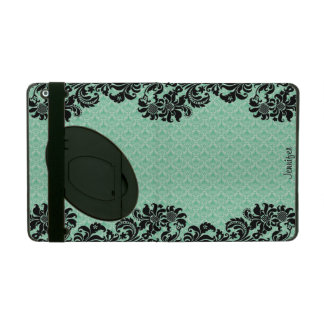 Mint Green Floral Damasks & Black Floral Lace iPad Cover
