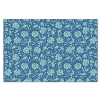 Mint-green Floral Damasks Over Blue Background Tissue Paper