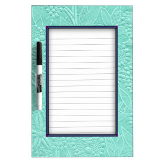 Mint Green Floral Dry Erase Board