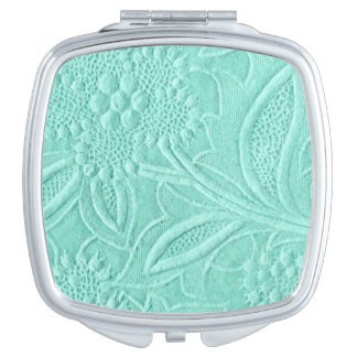 Mint Green Floral Mirror For Makeup