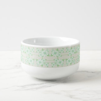 Mint Green Floral Printed Soup Bowl With Grey