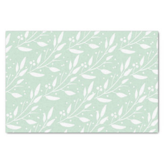 Mint Green Floral Tissue Paper