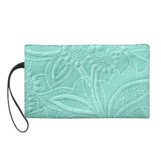 Mint Green Floral Wristlet