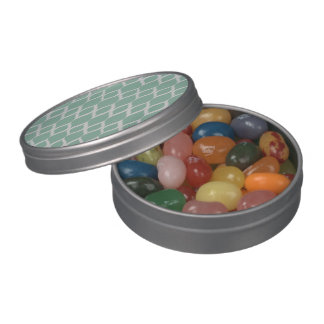 Mint Green Geometric Ikat Tribal Print Pattern Jelly Belly Candy Tins