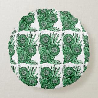 Mint Green Gerbera Daisy Flower Bouquet Round Cushion