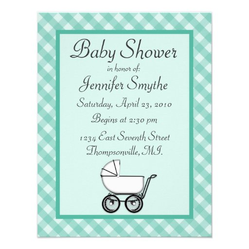 Mint Green Gingham Baby Shower Invitations