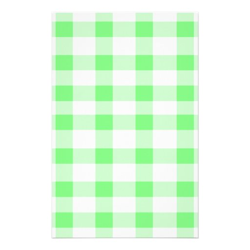 Mint Green Gingham Personalized Stationery