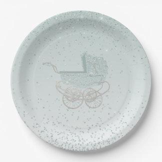 Mint Green Glitter Baby Shower Paper Plate