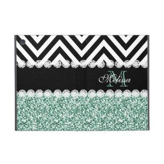 MINT GREEN GLITTER BLACK CHEVRON MONOGRAMMED iPad MINI COVER