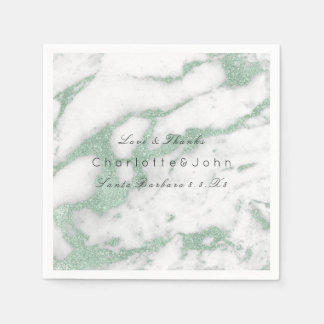 Mint Green Glitter White Gray Stone Marble Party Paper Napkin