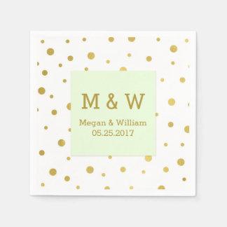 Mint Green Gold Confetti Wedding Monogram Paper Serviettes