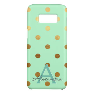 Mint Green & Gold Foil Polka Dots Monogram Case-Mate Samsung Galaxy S8 Case