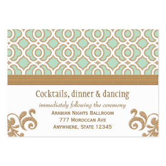 Mint Green Gold Moroccan Reception Enclosure Cards Business Card Templates