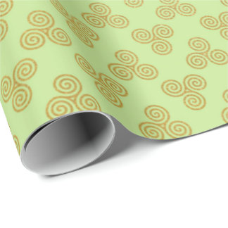 Mint Green Golden Royal Celtic Ornament Heraldic Wrapping Paper