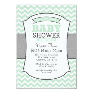 Mint Green Gray Chevron Baby Shower Invitation
