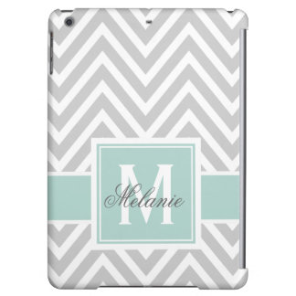 MINT GREEN, GRAY CHEVRON PATTERN PERSONALIZED