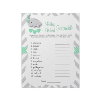 Mint Green & Gray Elephant Baby Shower Word Game Notepad