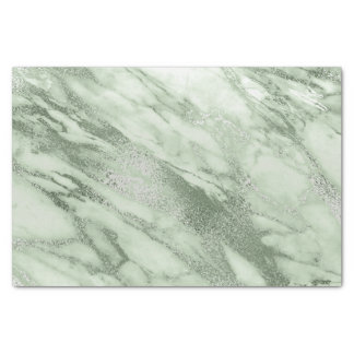 Mint Green Gray Pastel Metallic Marble Stone Lux Tissue Paper