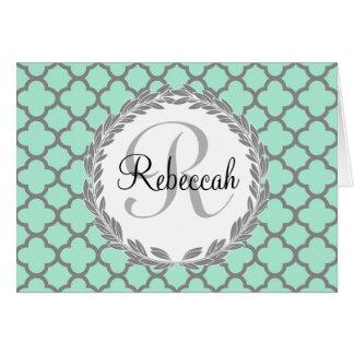 Mint Green Gray Quatrefoil Name Monogram Card
