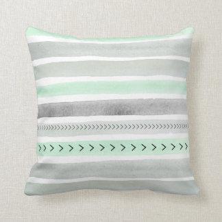 Mint Green Gray Watercolour Stripes Arrows Pattern Cushion