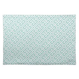 Mint Green Greek Key Pattern Placemat