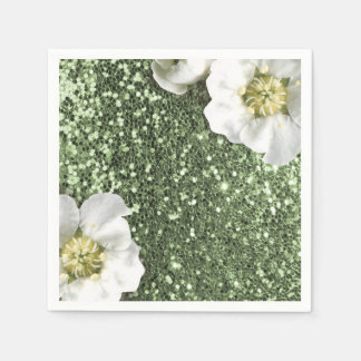 Mint Green Greenery Jasmin Glitter Sequin Sparkl Disposable Napkin