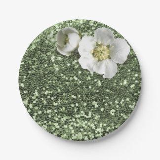 Mint Green Greenery White Jasmine Glitter 7 Inch Paper Plate