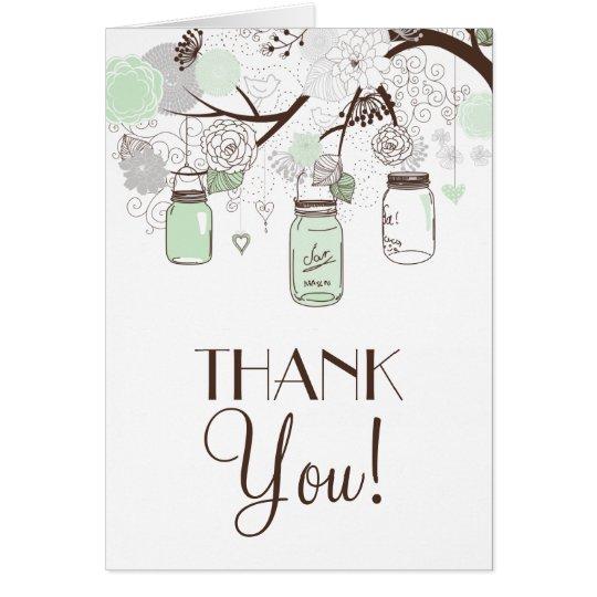 Mint Green & Grey Floral Mason Jars Thank You Card