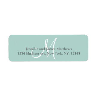 Mint Green, Grey Monogram for Weddings Return Address Label