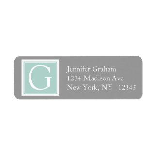 Mint Green Grey Simple Modern Monogram Return Address Label