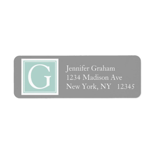 Mint Green Grey Simple Modern Monogram Return Address Label