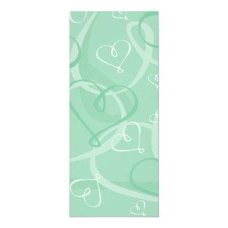 Mint green heart pattern 10 cm x 24 cm invitation card