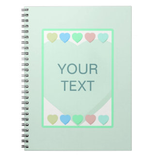 Mint Green Hearts Baby Shower Notebook