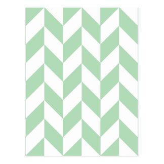 Mint Green Herringbone Pattern Postcard