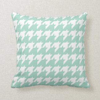 Mint green Houndstooth Throw Pillow