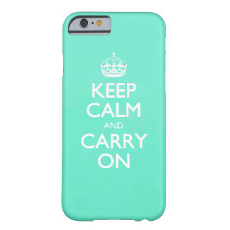 Mint Green Keep Calm And Carry On Pattern Barely There iPhone 6 Case