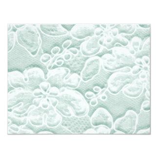 Mint Green Lace 11 Cm X 14 Cm Invitation Card
