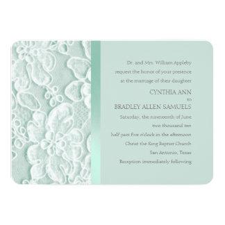 Mint Green Lace Wedding 13 Cm X 18 Cm Invitation Card