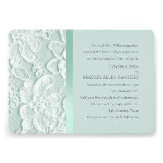 Mint Green Lace Wedding Invitations