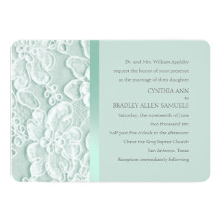 Mint Green Lace Wedding 13 Cm X 18 Cm Invitation Card