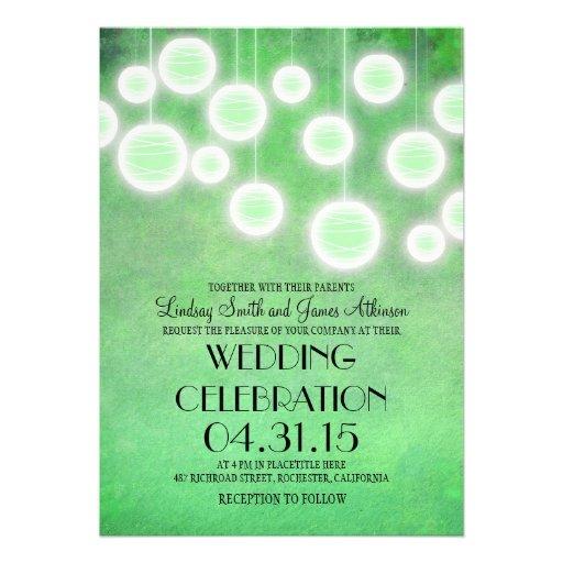 Mint green  lanterns vintage wedding invitation