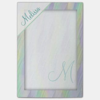 Mint Green Lavender Yellow Monogram Post-it® Notes