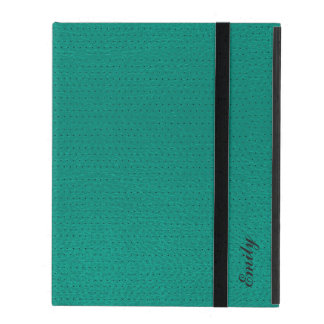 Mint-Green Leather Won-Out Look Monogram iPad Folio Case