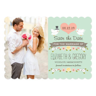 Mint Green Love Birds Wedding Save the Date Card 13 Cm X 18 Cm Invitation Card