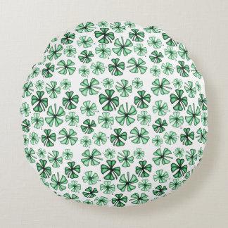 Mint-Green Lucky Shamrock Clover Round Cushion